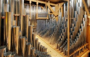 Ranks of pipes of the Manton Memorial Organ