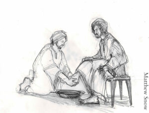Drawing of Jesus washing a disciple's feet