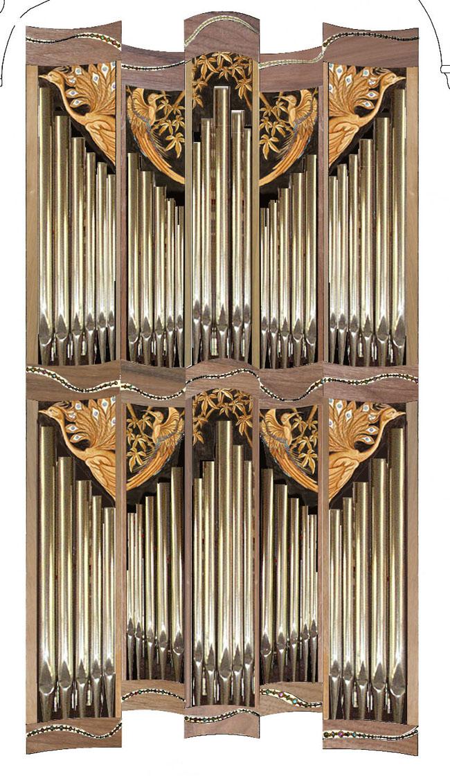 illustration of organ case, south aisle