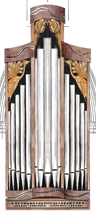illustration of organ case, north chancel