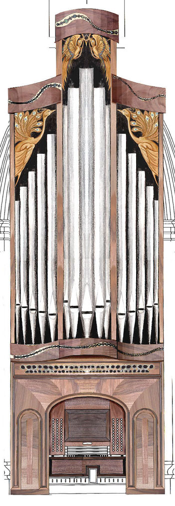 illustration of organ case, south chancel, and mechanical console