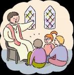 children graphic kids with priest