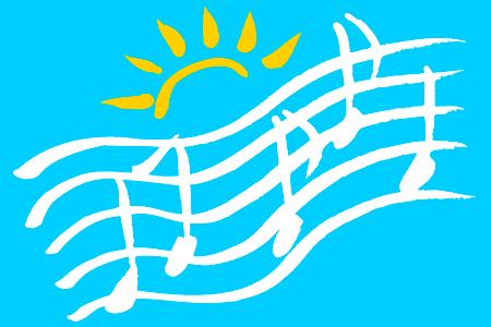 image of sunshine and music staffs